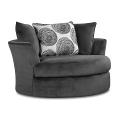 Swivel Cuddle Chair York Patio Dining Table And Chairs Cover Albany Smoke Gray Padded Microfiber Weekends Only Storewide Sell Off