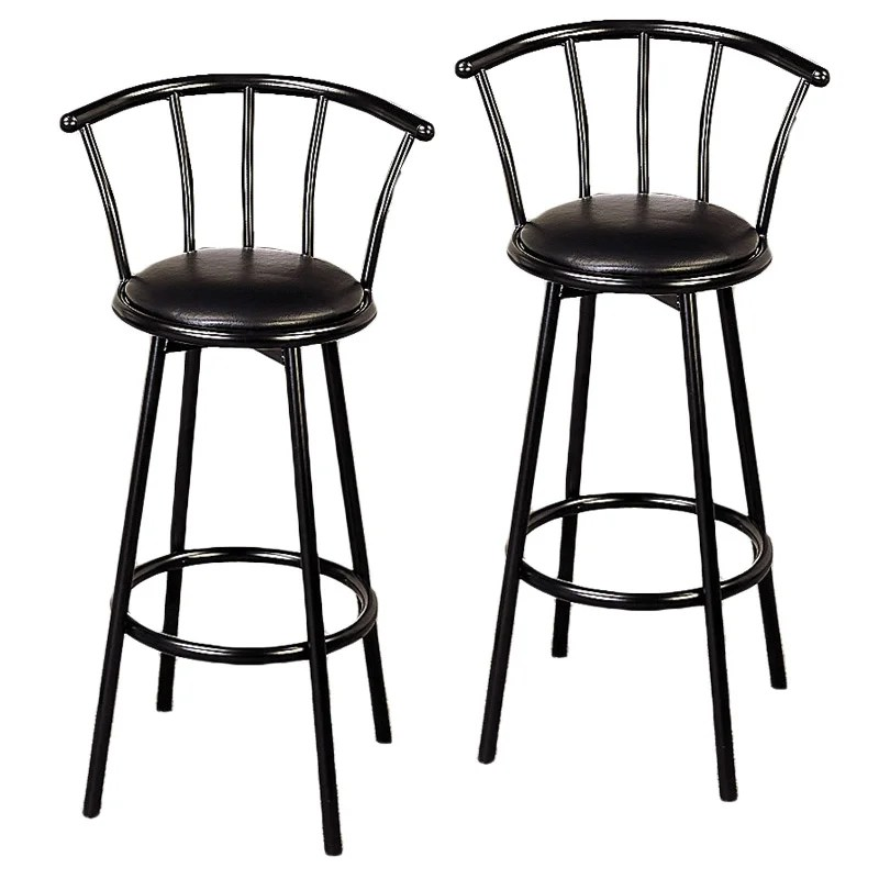 bar stool chairs metal folding chair stools dining benches room kitchen kara black height set of 2 swivel