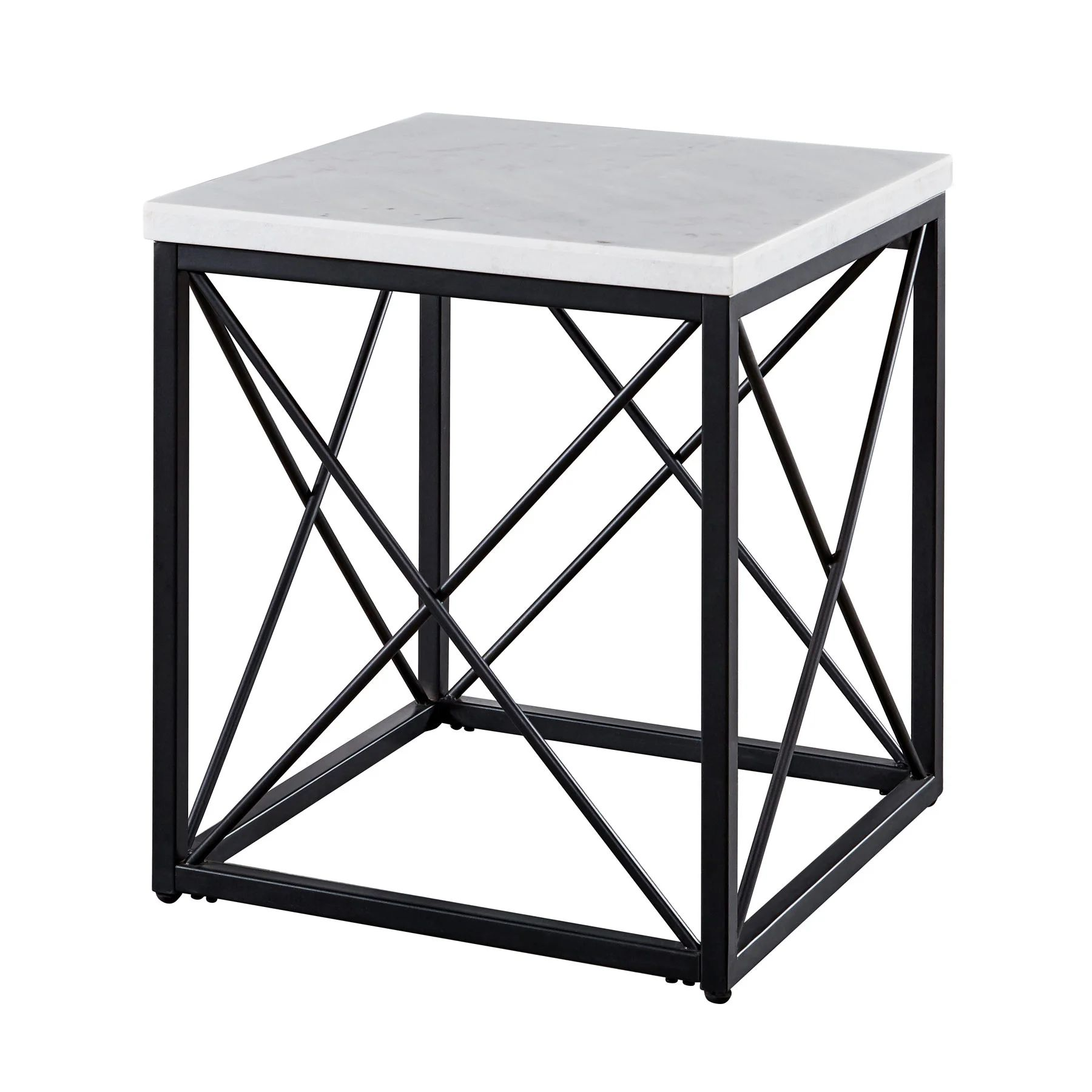 skylar white marble and metal square end table