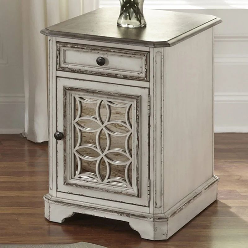magnolia manor distressed antique white mirrored side table