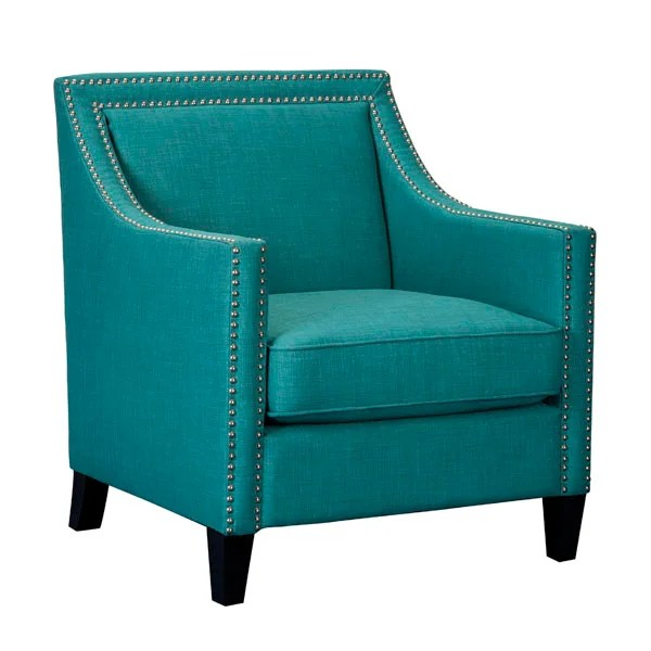 blue green chair massage osaki accent chairs chaises living room furniture weekends heirloom teal linen with nailhead trim