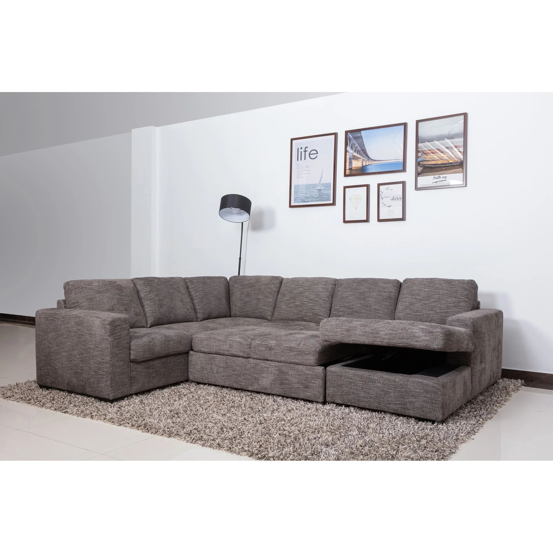 claire 3 pc pewter right side facing chaise sectional