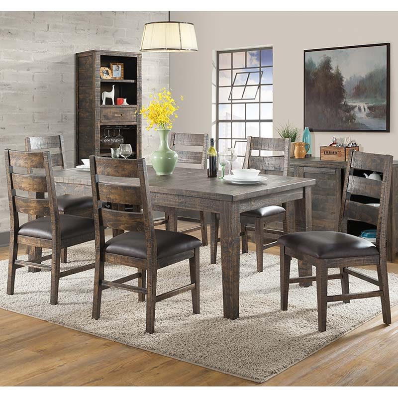 distressed dining chairs highback office chair glenwood 7 piece rustic solid wood set weekends only furniture