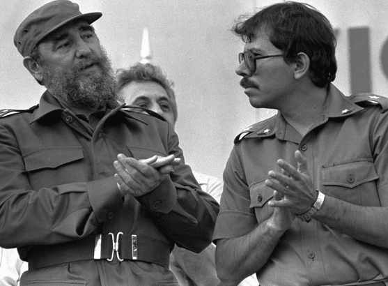 Nicaragua's president Daniel Ortega hanging out with fellow Communist thug Fidel Castro.
