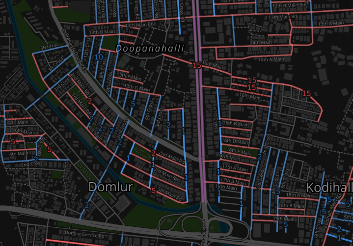 Street names in Bengaluru are usually named mains (red) and crosses (blue) and is a constant source of confusion for new residents due to inconsistent numbering system across neighbourhoods. By Arun Ganesh [Source: OpenStreetMap (ODbL)]
