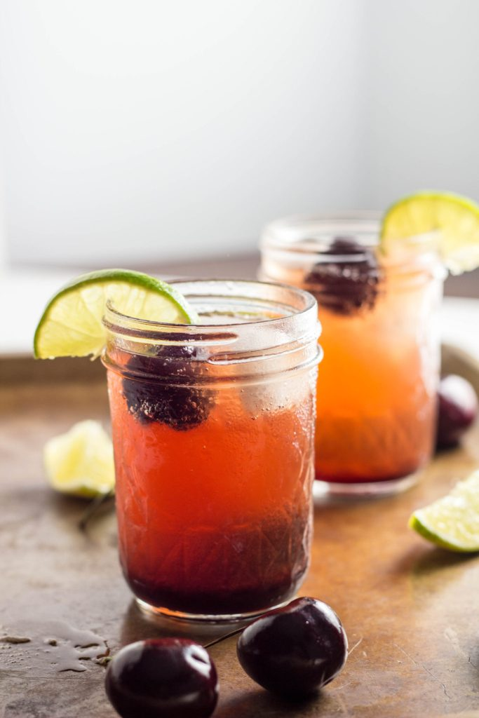 Kid Friendly Cherry Lime Spritzer - no refined sugar