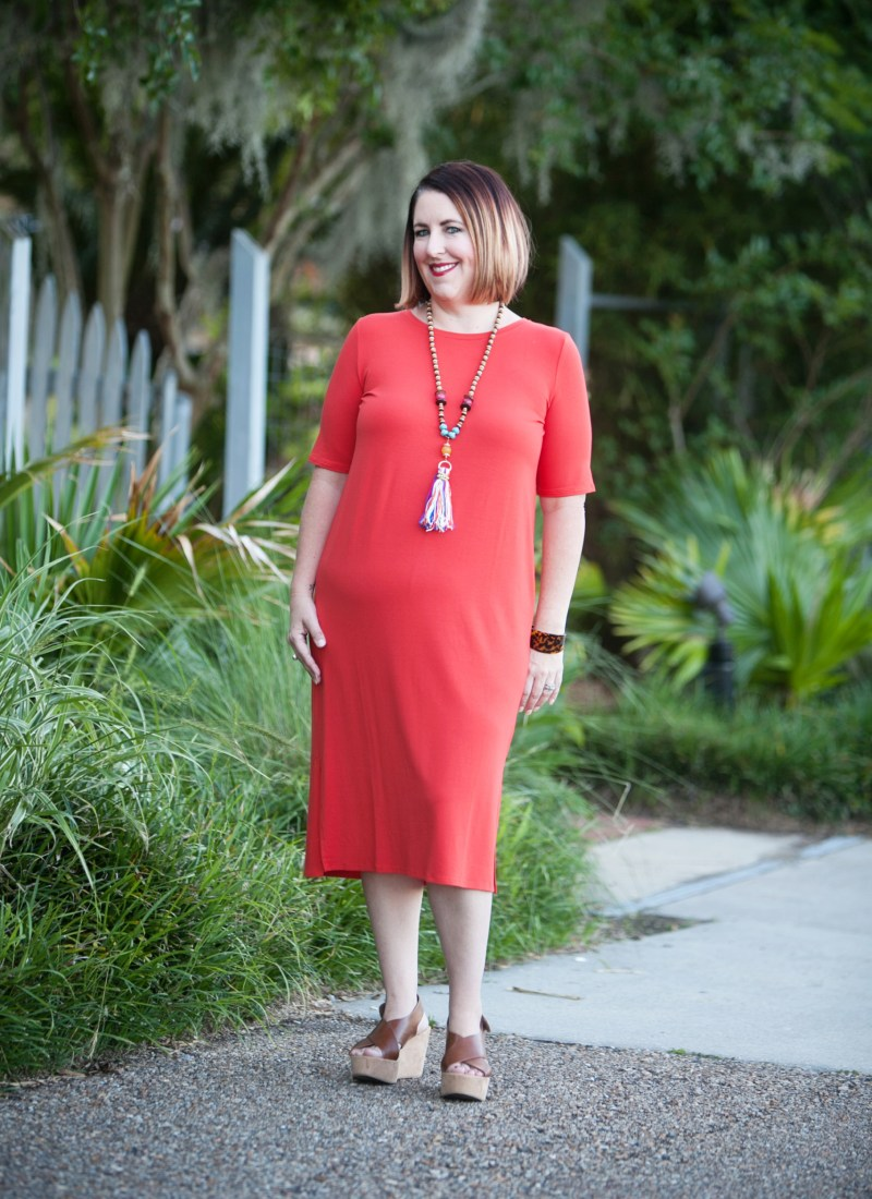 Red Eileen Fisher Tshirt Dress