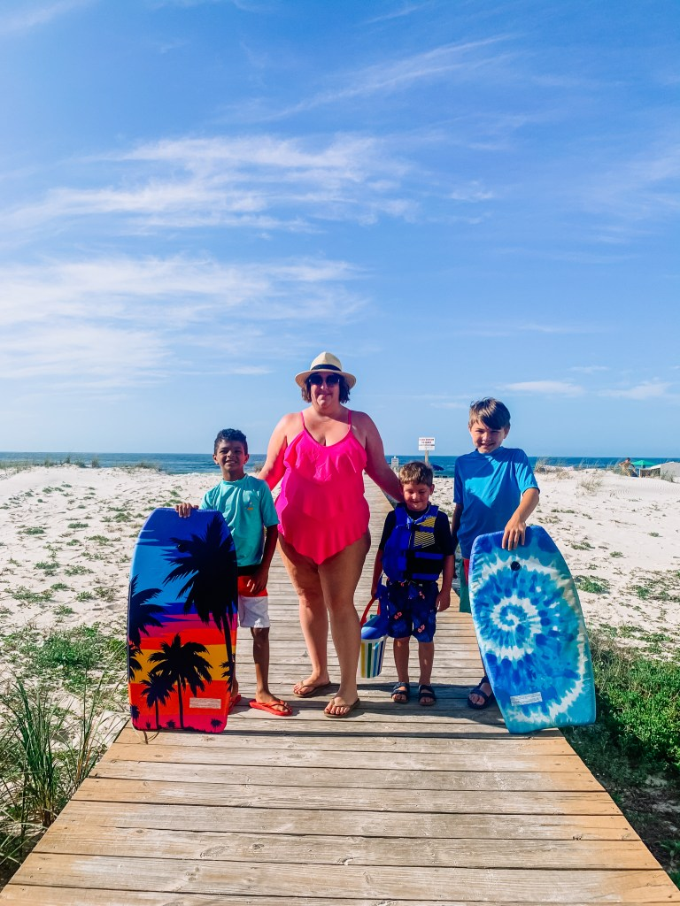Tiffany with the boys at the beach - the day someone called me the fat mom
