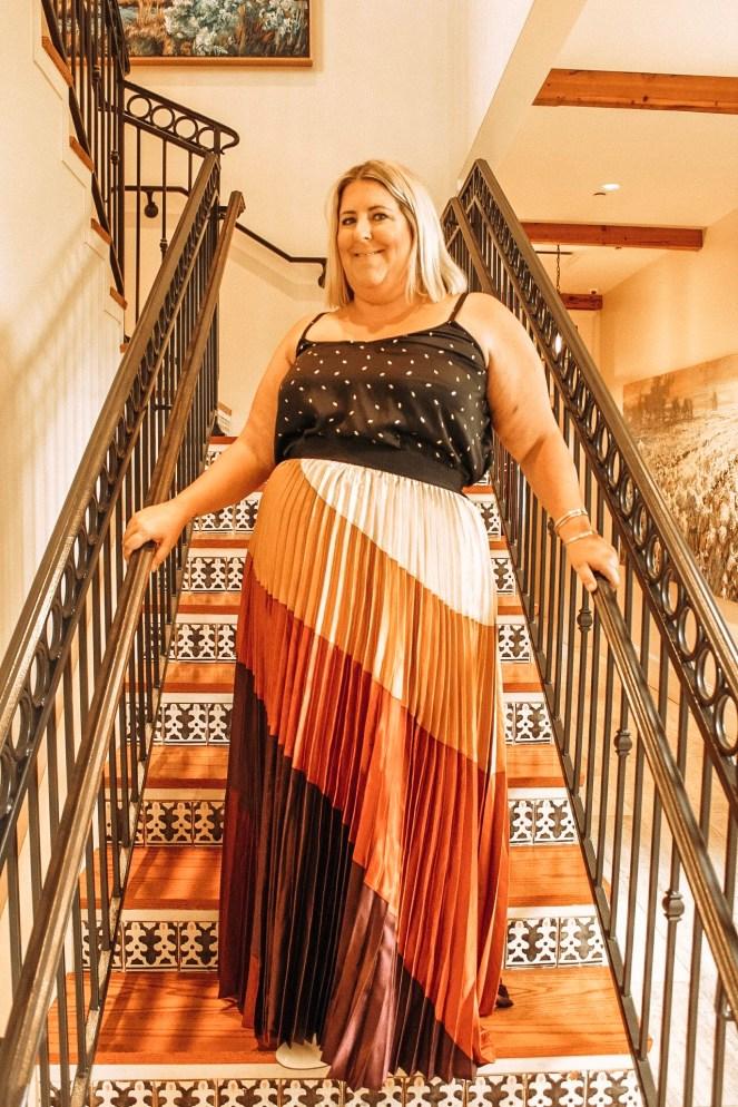 Tiffany in a multi colored maxi skirt from Stella Dallas in Mandeville