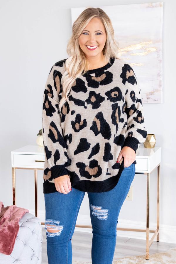 Long leopard print sweater