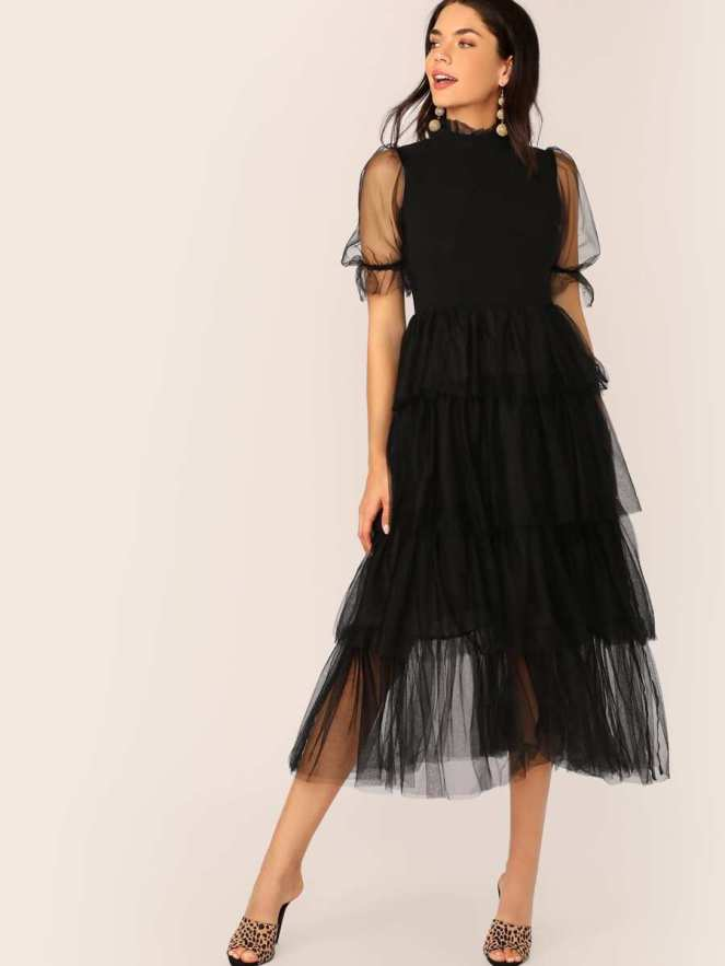 Frill Neck Puff Sleeve Dress