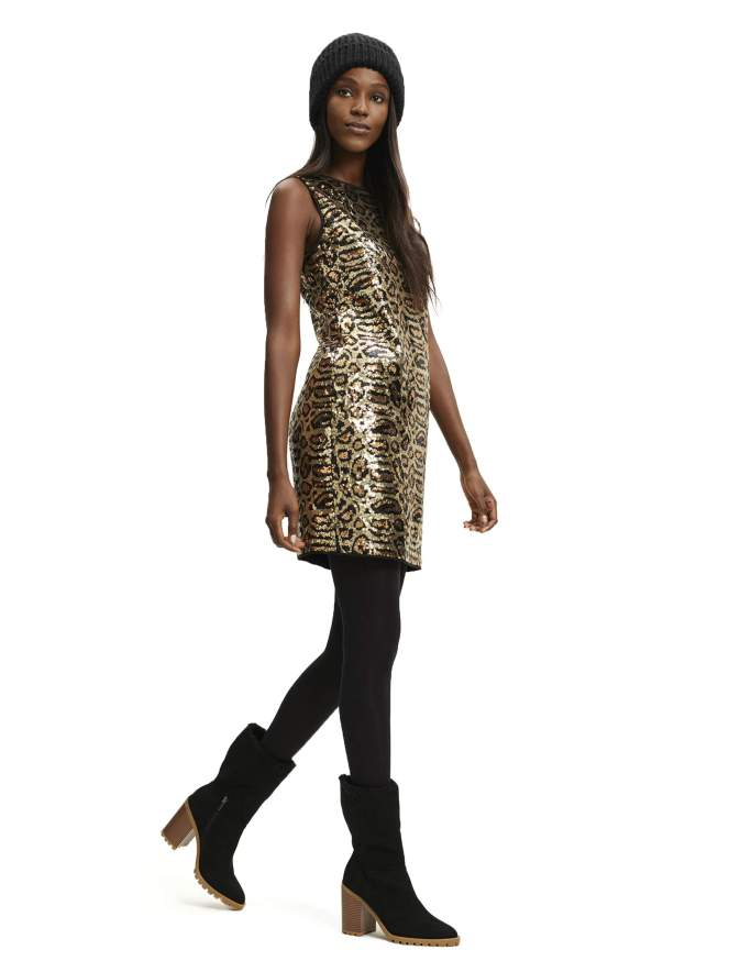 Leopard Sequin Shift Dress
