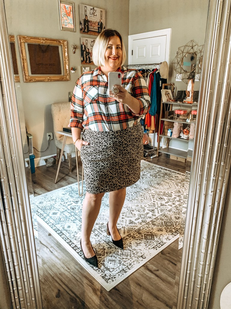 Plaid top with leopard skirt