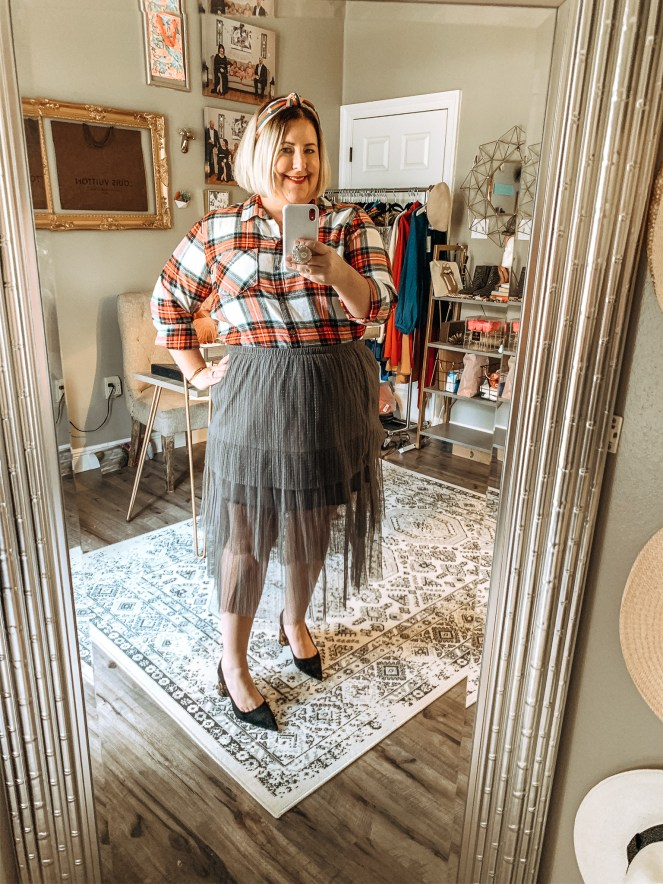 plaid top with gray tutu skirt