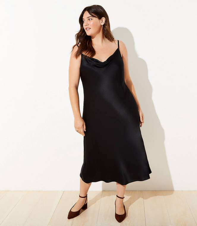 Draped Midi Slip Dress