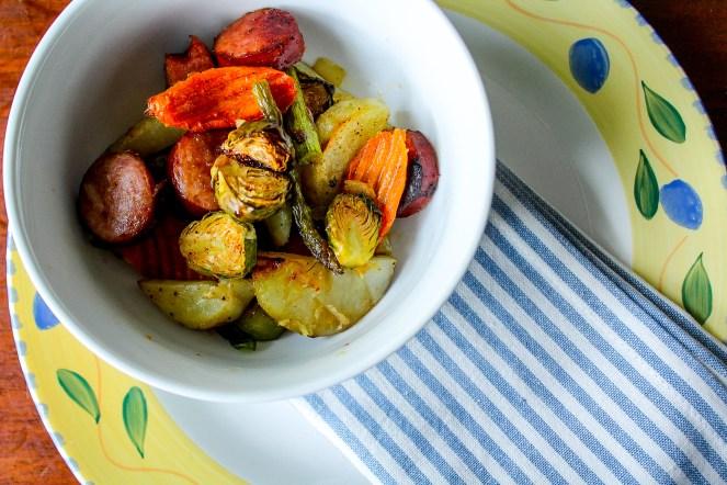 Sheet pan meal with veggies and sausage