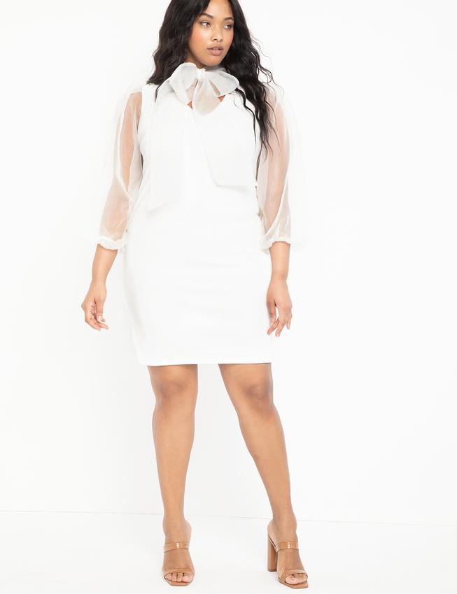 Eloquii - White Bow Neck Dress