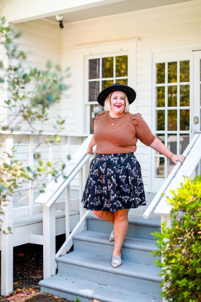 5 fashion rules to break: Target brown and black stripe with Gwynnie Bee Horse pattern skirt.
