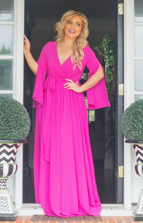 Perfectly Priscilla Magenta MAxi Dress
