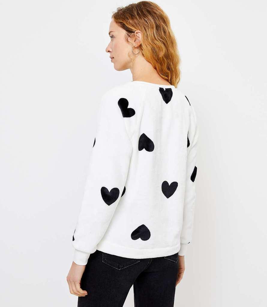 LOFT Heart Faux Fur Sweater