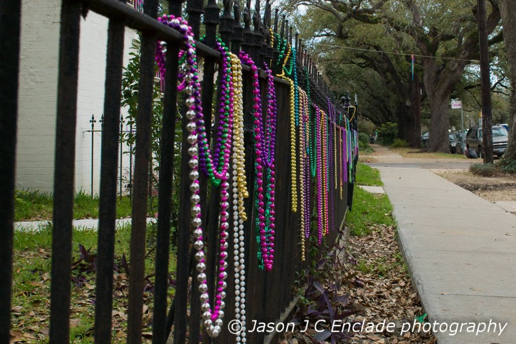 Mardi Gras Beads on fences
