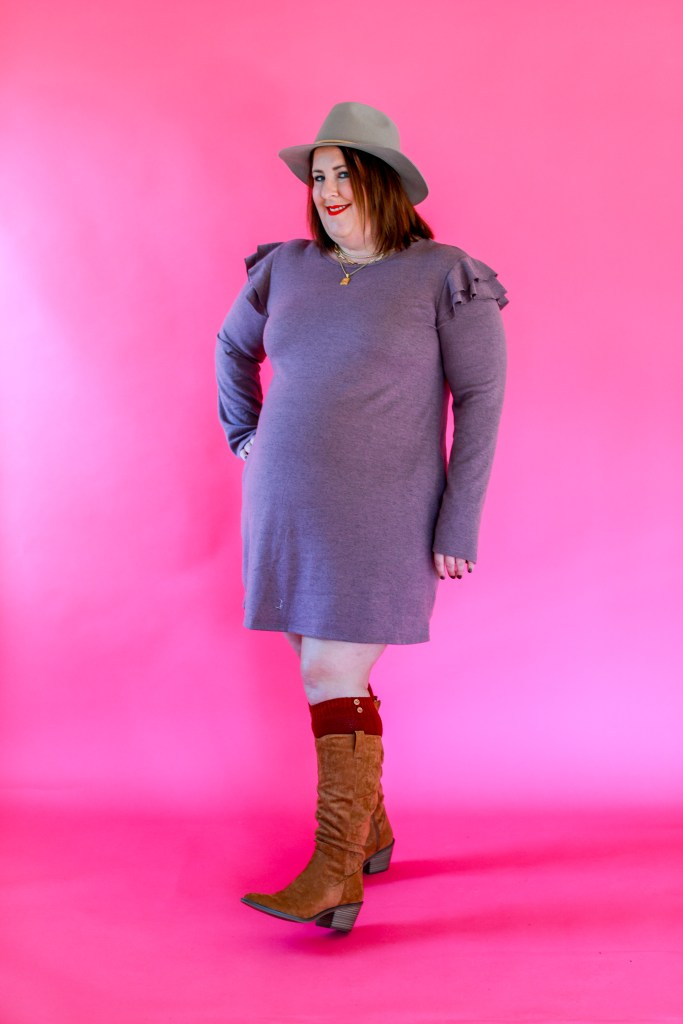 Tiffany in a Perfectly Priscilla lavender sweater dress. - End of Winter Purchasing