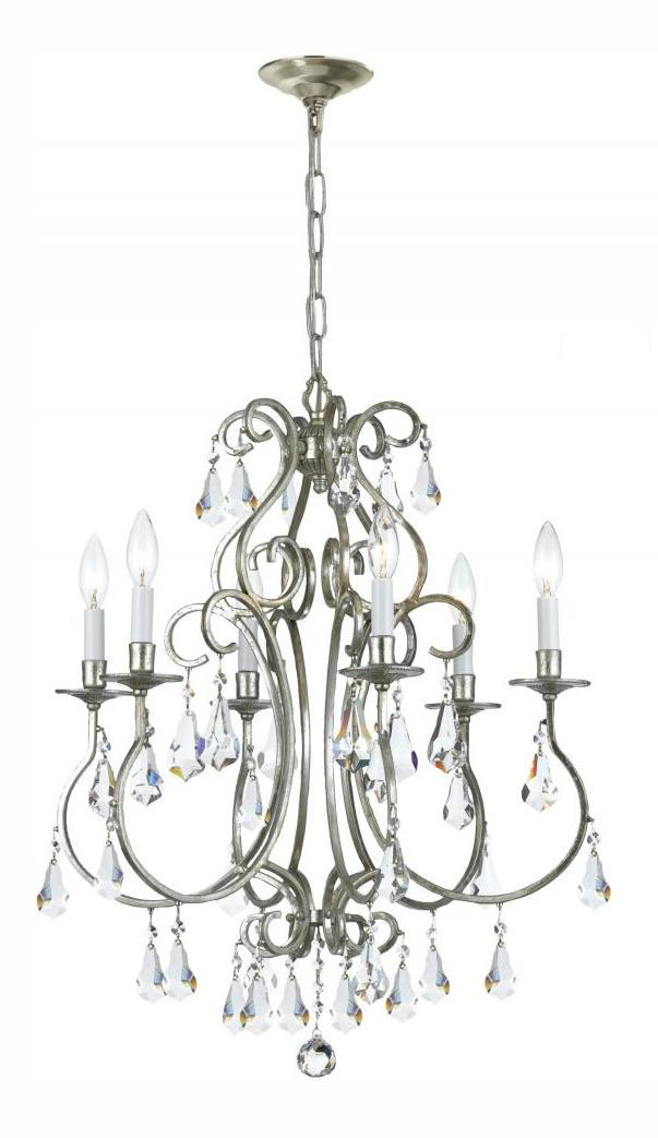 Crystorama Six Light Olde Silver Up Chandelier Olde Silver