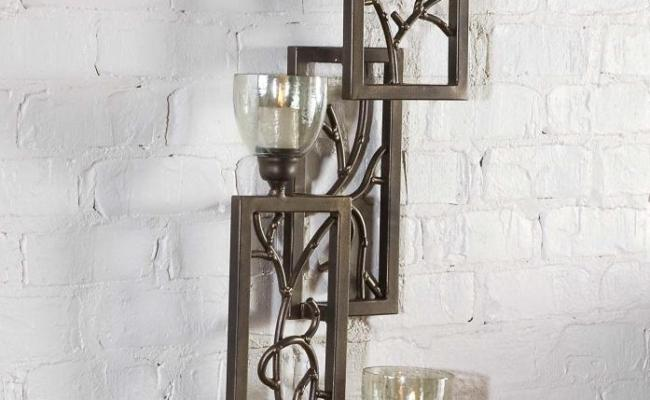 Uttermost Antique Bronze Iron Branches Wall Sconce Candle