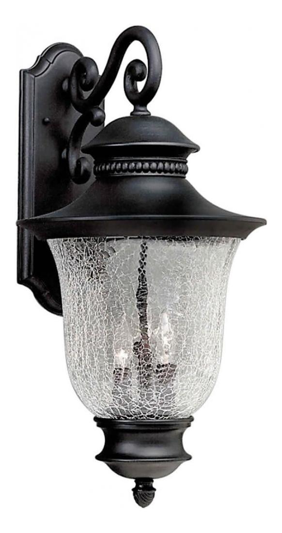 Forte Three Light Black Clear Crackle Glass Wall Lantern