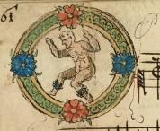 Inicjał O, tancerz z janczarami na nogach.
