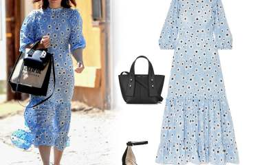 I Want to Be Wearing That: Mandy Moore's Blue Floral Midi Dress and Block Heels