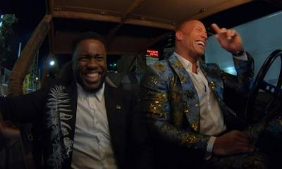 The Rock, Kevin Hart Ride Dune Buggies to 'Jumanji' Premiere