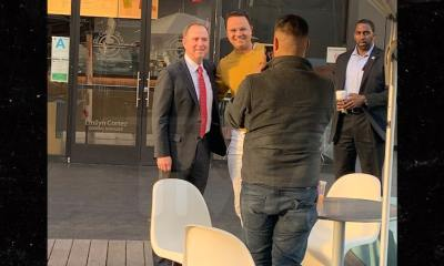 Rep. Adam Schiff Mugs for Selfies with Fans Outside Coffee Bean