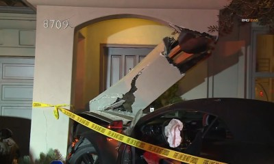 Valet crashes Mustang into front door of West Hollywood home, officials say