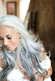 beautiful long gray hair style