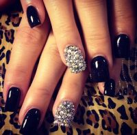 Nail Art MANICURE Designs using BLACK NAIL POLISH