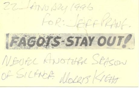 Fagots Stay Out jeff prang