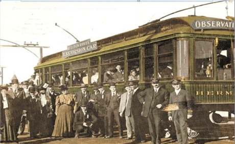 """This photo from 1902 shows passengers enjoying the most famous trolley car trip in the West during the early 1900s – a daylong excursion called the """"Balloon Route"""" from downtown Los Angeles to the beach cities and back again. The popular trip, billed as """"the only ocean voyage on wheels,"""" covered 101 miles for 100 cents. (Photo from the Los Angeles Water and Power Collection)"""