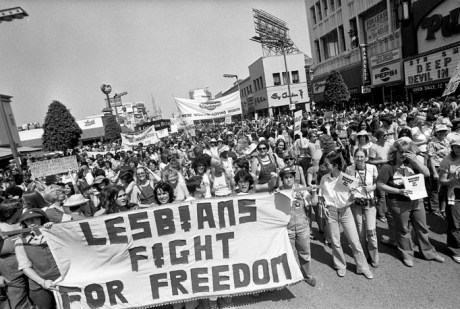Gay Pride Parade on Hollywood Blvd. in Los Angeles, 1977. (Los Angeles Times Photographic Archive, UCLA Library Special Collections)