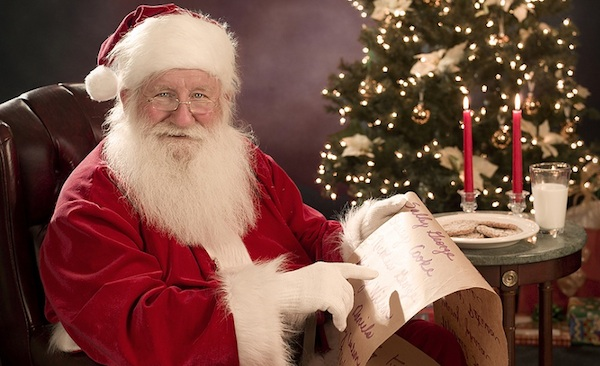 He's making a list, but not checking it once.