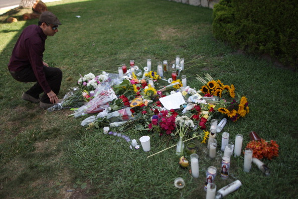 A makeshift shrine on the lawn of the sorority targeted by Elliot Rodger