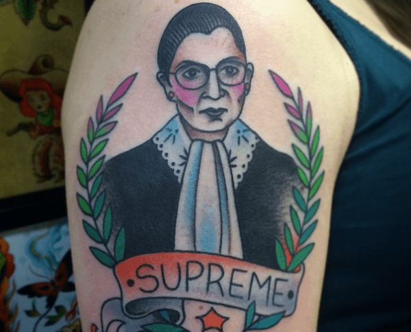 A tattoo of the NotoriousRBG will drive the misogynists away. Tattoo by Nikki Lugo of Tattoo Paradise. Click for her Instagram