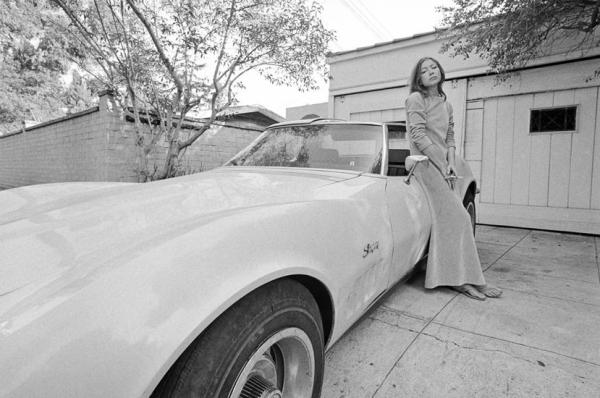 Joan Didion and car