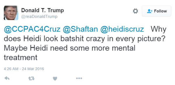 Donald T. Trump @reaDonaldTrump @CCPAC4Cruz @Shaftan @heidiscruz Why does Heidi look batshit crazy in every picture? Maybe Heidi need some more mental treatment