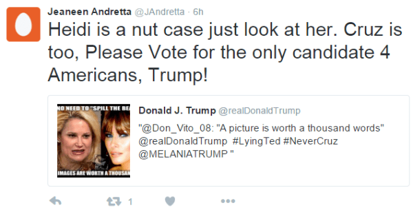 Jeaneen Andretta @JAndretta 6h6 hours ago Jeaneen Andretta Retweeted Donald J. Trump Heidi is a nut case just look at her. Cruz is too, Please Vote for the only candidate 4 Americans, Trump!
