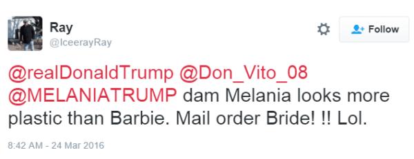 Ray @IceerayRay @realDonaldTrump @Don_Vito_08 @MELANIATRUMP dam Melania looks more plastic than Barbie. Mail order Bride! !! Lol.