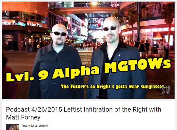 Forney is the bald douchebag wearing sunglasses at night. Aurini is the other bald douchebag wearing sunglasses at night.