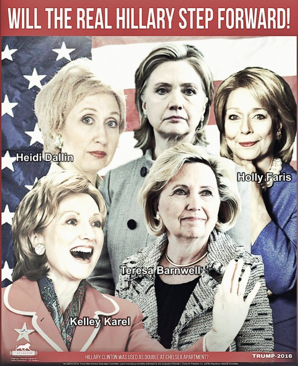 I'm going to take a wild guess and say the real Hillary is ... the one that looks like her? (Click on pic for source)