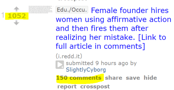 1052 Edu./Occu.Female founder hires women using affirmative action and then fires them after realizing her mistake. [Link to full article in comments] (i.redd.it) submitted 9 hours ago by SlightlyCyborg 150 comments
