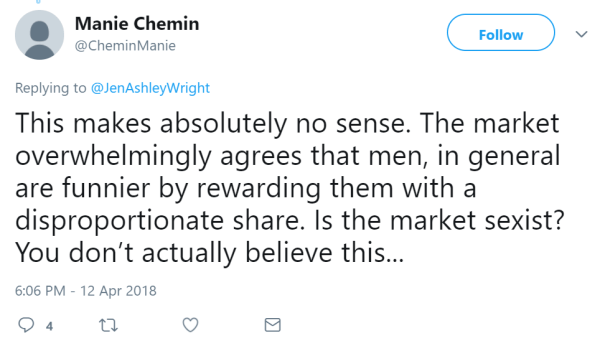 Manie Chemin  @CheminManie Follow Follow @CheminManie More Replying to @JenAshleyWright This makes absolutely no sense. The market overwhelmingly agrees that men, in general are funnier by rewarding them with a disproportionate share. Is the market sexist? You don't actually believe this...